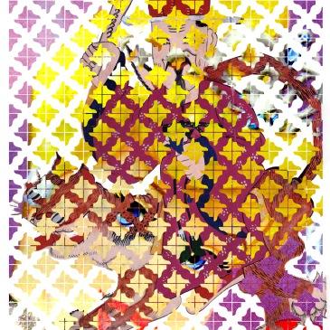 감흥신령, 128x98x18 cm, 간판에 컬러스티커, 형광등, 테이프, 스프레이, 2014