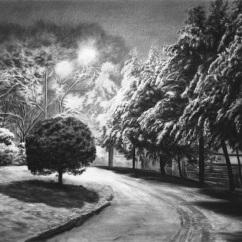 노란 밤 속으로, charcoal on paper, 55.2x76.5cm, 2015