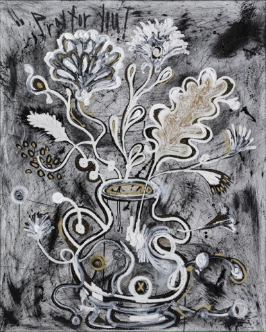 The first duty of love is to listen (Flower series), 162x130cm, oil and korean ink on canvas, 2014